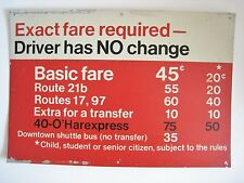 Vintage Chicago Transit CTA Bus Sign Exact Fare Driver No Change Downtown O'Hare