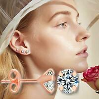 Classic Durable Round Clear Cubic Zirconia Rose Gold Surgical Steel Stud Earring