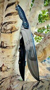 UBR CUSTOM HANDMADE 440 CARBON STEEL HUNTING BOWIE KNIFE WITH LEATHER SHEATH