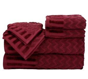 📀 Yorkshire Home : Bath towel & Washcloth Set (6pc) - Burgundy