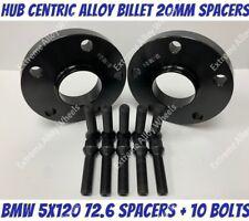 Black Alloy Wheel Spacers 20mm Bmw X3 X4 F25 F26 M14X1.25 Bolts 5x120 72-6