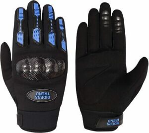 Riders Trend Mens Cross Country/Motocross Gloves with Kevlar Hard Knuckles Blue