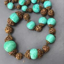 Vtg Art Deco Czech Mottled Peking Glass Gold Gilt Filigree Brass Bead Necklace