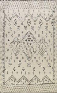 Vegetable Dye Ivory Tribal Moroccan Berber Oriental Area Rug Wool Handmade 9x12