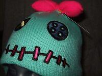 Nwt Cute Disney Lilo And Stitch Scrump Knit Laplander Space Alien Bow Beanie Hat