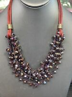 Vtg Bohemian Necklace 6 Multi Strand Glass Purple Aurora Borealis Crystal 18""
