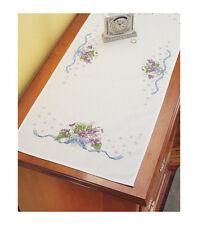 "NIP Janlynn Dresser Scarf 'Violets' Stamped for Cross Stitch 14"" X 35"""