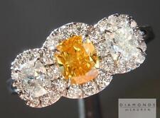 .50ct Fancy Vivid Yellow Orange Cushion Cut Halo Ring R5107 Diamonds by Lauren