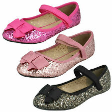 Girls Black / Rose Gold Cutie Party Dolly Shoes UK Sizes 6 - 12 H2376