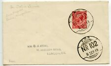 IRAQ 1919 OAS GB 1d pmk Indian FPO 102 cds Basra-Tanooma to George J King London