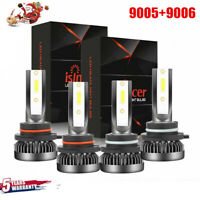 9005+9006 3600W 360000LM Combo LED Headlight High/Low Beam 6000K 4 Bulbs Kits