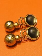 Panagopoui Gold Tone Hammered Beads Earrings