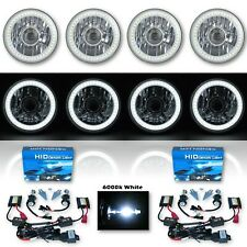 """5-3/4"""" Projector White SMD LED Halo Crystal H4 Headlight & 6k HID Bulb Set of 4"""