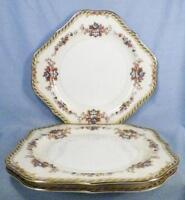 3 Noritake Capri Square Salad Plates Porcelain Urns Flowers Scrolls 7505 Vintage