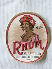 etiquette Rhum superieur 40 ° Société Lyonnaise des Rhums Lyon Rhône