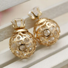 Gold Plated Double Side Hoop Dangle Earrings Studs Hollow Disco Ball Beads Punk