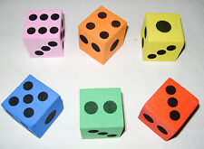 "NEW SET OF 6 SOFT COLOURFUL FOAM LARGE DICE PARTY LOOT BAG FILLER 3.5cm 1.5"" HB"