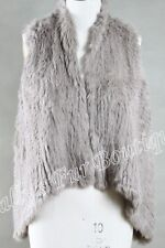 NEW 100% RABBIT FUR SWING VEST TAUPE Free Size Free P&P