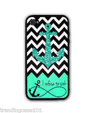 Chevron Mint Anchor REFUSE TO SINK RUBBER SILICONE CASE FOR IPHONE XS Max XR X 8