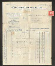 """MOULINS (03) QUINCAILLERIE PLOMBERIE """"METALLURGIQUE DE L'ALLIER"""" voyagée en 1945"""