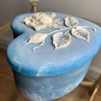 Genuine Vintage Incolay Stone Blue & White Rose Heart Jewelry Trinket Box