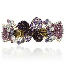 Purple Rhinestone Flower Flowers Barrette Gold Tone Hair Clip Party Gift