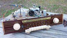 Vintage AJA Model 5842 GERMAN Tube Radio CHASSIS, Glass Face Plate,Tubes, KNOBS