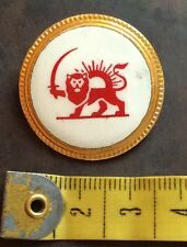 LT2 IRAN,PERSIA RARE LARGE RED LION & SUN SOCIETY ENAMELLED PIN BADGE EXCELLENT.