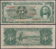 Costa Rica, 5 Colones, 1958, VF+, P-220(b)
