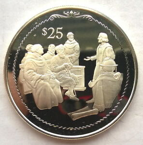 British Virgin 1992 Columbus Lecturing 25 Dollars Silver Coin,Proof