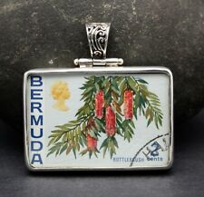 1970 BERMUDA 2 cent STAMP PENDANT set in .925 STERLING SILVER FREE SHIPPING !!