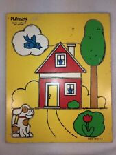 Vtg PLAYSKOOL My House 5 Piece Wooden Puzzle Dog Blue Bird Tulip Tree Shapes
