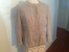 NEW ANN TAYLOR Beige Tan Lined Fringe 3/4 Sleeve Button Snap Jacket 8