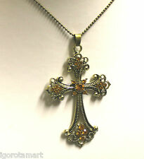 New Vintage Bronzy Jewelled Cross Crucifix Bead Pendant Long Chain Necklaces
