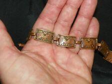 "Vintage Copper Aztec Bird Eagle Link Bracelet 71/2"" Unsigned Renoir"