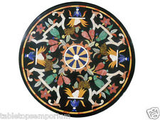 "24"" Black Marble Inlay Coffee Table Top Handmade Mosaic Occasional Home Decor"