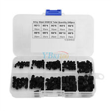 240pc Black Hexagon Socket Screws Assortment Grub Screw Kit + Box M3 M4 M5 M6 M8