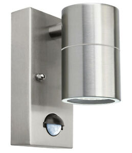 PIR Stainless Single Outdoor Wall Light with With Movement Sensor IP44 09