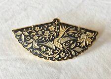 Ancienne Broche Damascène de Tolède Décor Or Fin Forme Éventail Bijoux Oiseaux