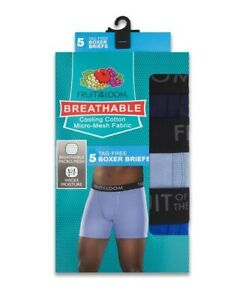 Fruit of the Loom Men's Breathable Micro-Mesh Cooling Cotton Boxer Briefs 5-Pk