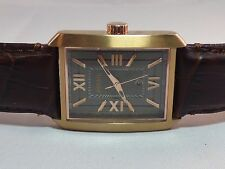 FOSSIL MENS ROMAN ROSE GOLD BROWN LEATHER WATCH FS4653