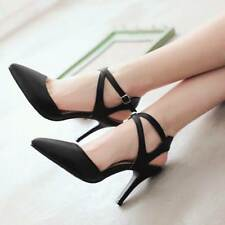 Alluring Sexy Stilettos pointed Belt buckle Faux Sued Slingbacks Womens Shoes 39