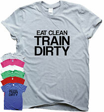 Training shirts running t shirt gym gear fitness tee top EAT CLEAN TRAIN DIRTY