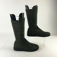 French Blu Side Zip Pull On Tall Boots Womens 39 Army Green Suede Round Toe