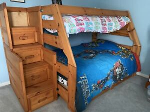 Bunk Bed Twin over full with steps Solid Wood Pine Drawers