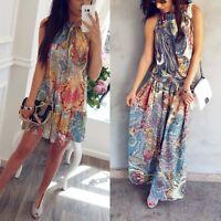 Women Summer Boho Floral Maxi Evening Party Cocktail Beach Dress Sundress Long