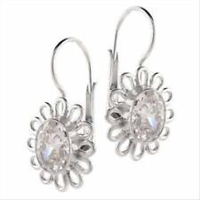Sterling Silver Oval CZ Flower Leverback Earrings