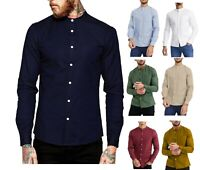 Men's Casual Oxford Shirt Grandad Collar Long Sleeve Shirts Regular Fit RH03