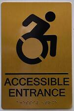 New listing Accessible Entrance Sign - Gold(Aluminium, Gold/Black,Size 6X9).(ref1820)