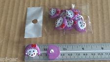 10x Nuevo Chica De Plástico/Cara De Muñeca púrpura y blanco vástago Botones Costura Craft